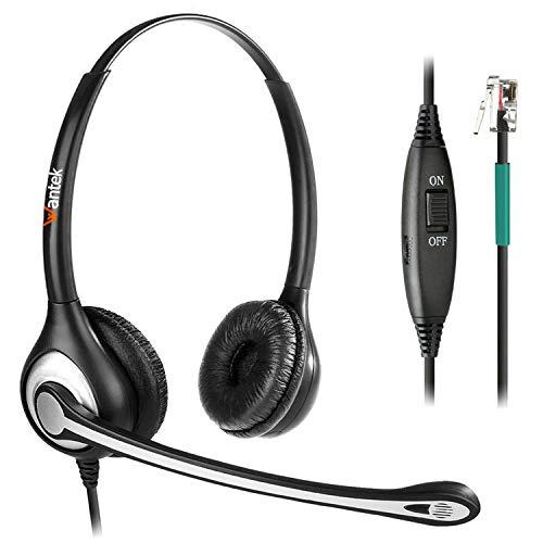 Telefon Headset Dual mit Noise Cancelling Mikrofon, Lautstärkeregler, WANTEK Call Center Kopfhörer für Festnetztelefone ShoreTel Polycom NEC Nortel Norstar Meridian Siemens ROLM(F602S2)