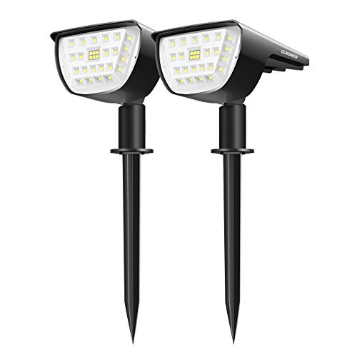 Claoner 32 LED Solar Landscape Spotlights, Wireless Waterproof Solar Landscaping Spotlights Outdoor Solar Powered Spotlights for Yard Garden Driveway Porch Walkway Pool Patio- Cold White(2 Pack)