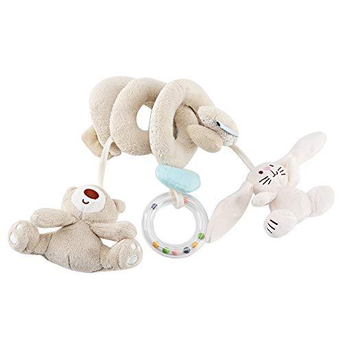 Bebé Espiral Cama Cochecito de Juguete Actividad Para Niños Pequeños Envoltura de Cuna Colgando Decoración Muñeca de Peluche con Oso Conejo Sonajero incorporado