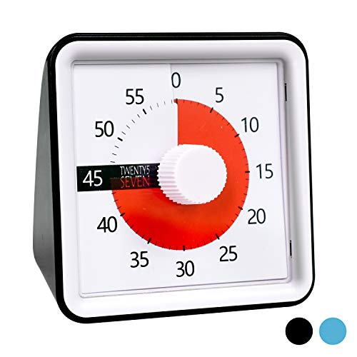 TWENTY5 SEVEN Countdown Timer 3 inch; 60 Minute 1 Hour Visual Timer - Classroom Teaching Tool Office Meeting, Countdown Clock for Kids Exam Time Management - Black