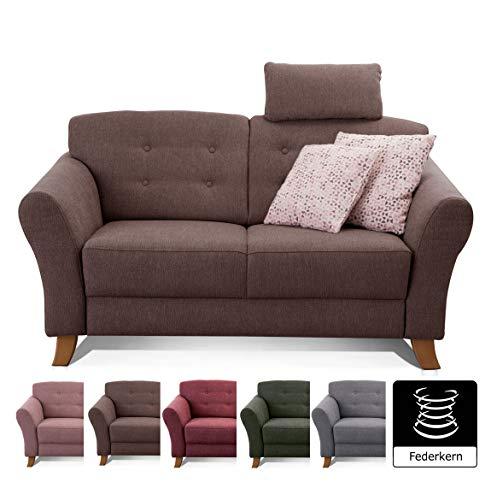 Cavadore 2-Sitzer-Sofa / Moderne Couch im Landhausstil mit Knopfeinzug im Rücken / Federkern / Inkl. Kopfstütze / 163 x 89 x 90 / Flachgewebe dunkelbraun