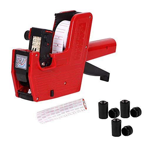 MX5500 Price Tag Gun for Clothing Tags -Price Stickers-Expiration Date Stamp-Gun Stickers, Date Sticker Gun, 1 line Label Gun ,1 Price Gun and 10 Roll Labels,and 3 Ink Wheels (Red)