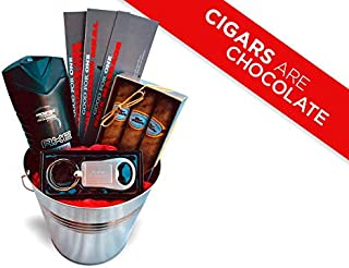 Gift Basket Ideas for Men - Anniversary or Just Because Gift for Men Birthday Baskets for Him Boyfriend Husband- Chocolate Cigars Keychain Bottle Opener Axe Spray - Speedy Delivery