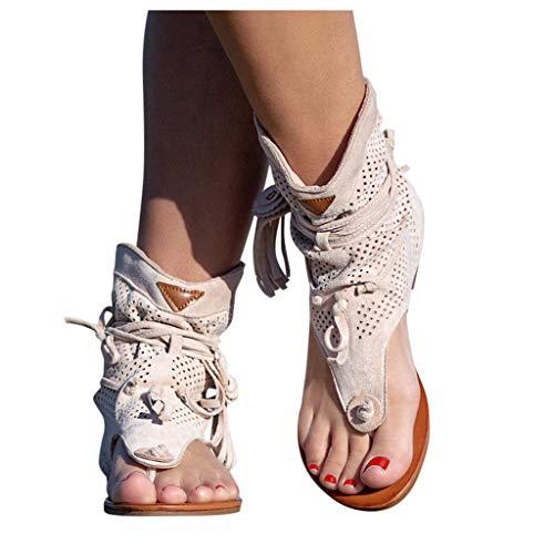 Aniywn Womens Summer Fringe Gladiator Flat Sandals Tassel Casual Bohemian Open-Toe Thong T-Strap Sandals Beige
