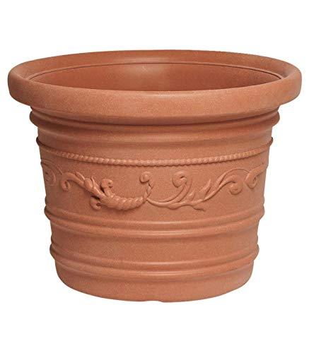 Saturnia 8093415 Pot de Fleurs en résine Rond, Couleur Terre Cuite, résistant, idéal pour extérieur, diamètre 50 cm