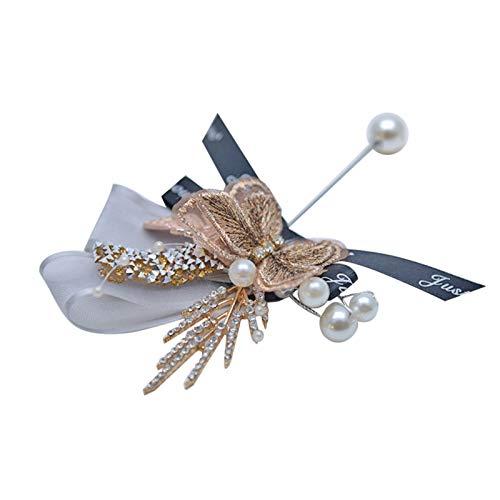 XPT Broche De Mujer Elegante Pin Forma De Mariposa Tela De Moda Suministros De Boda Broche para El Novio De La Novia Azul