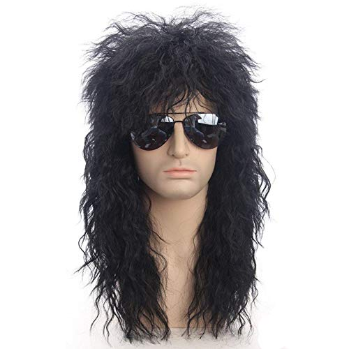 Peluca 30 pulgadas Hombres largo Sinttico Extensin de la extensin Peluca Negro Color Hembra Hoquilla Punk Hinchazn Hovegear para Halloween Fibra de alta temperatura Extensiones cabello