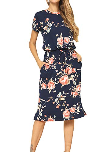 Women's Short Sleeve Floral Casual Loose Pockets Midi Work Dress Deepblue M