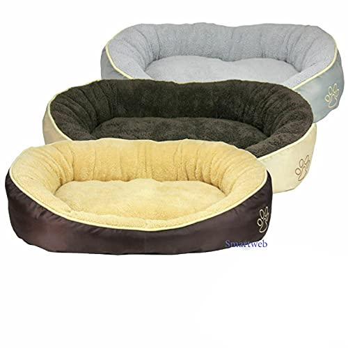 Smartweb Waschbares Flauschiges Hundebett 58 x 48 x 18cm für Hund und Katze Katzenbett Hundekissen Katzenkissen Tierkissen Farbe: Grau
