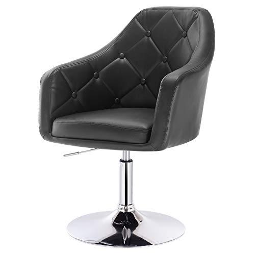 eSituro SBST0292 1 x Bar Sessel Barhocker Loungesessel Relaxsessel, höhenverstellbar & 360° drehbar, mit gepolsterter Rückenlehne, aus hochwertigem Kunstleder, Schwarz