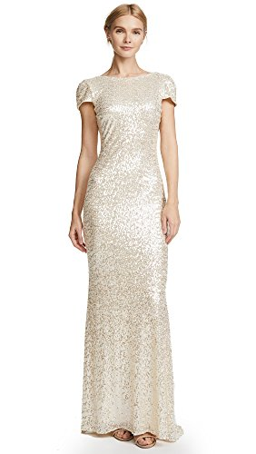 Badgley Mischka Women's Cowl Back Sequin Classic Gown Dress, Champagne, 12 (Apparel)