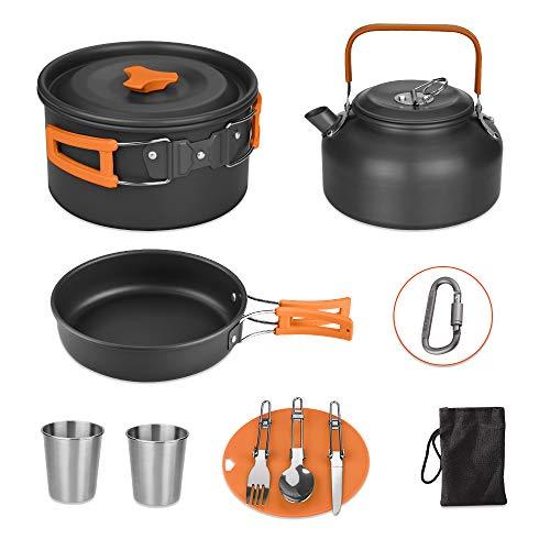 Awroutdoor Camping Kochgeschirr Kit Outdoor Aluminium Leichte Camping Pot Pan Kochen Set für Camping Wandern