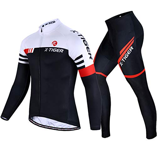 X-TIGER Cycling Clothes for Men Long Sleeve Mountain Bike Road Bicycle Shirt Jerseys Pants Padded Bike Jacket Outfit