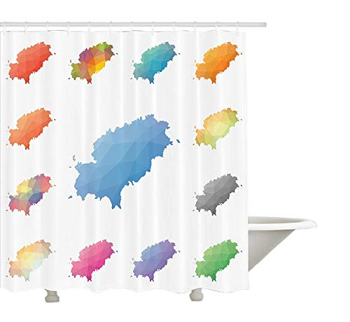 Yeuss Ibiza Duschvorhang, Mosaic Style Low Poly Mediterrane Landkarten Bunte Balearenregion Südspanien, Stoff Badezimmer Dekor Set mit Haken, Multicolor