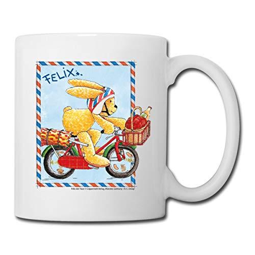 Felix der Hase Fahrradausflug Tasse, Weiß