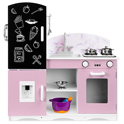 Best Choice Products Wooden Pretend Play Kitchen Toy Set for Kids w/ Chalkboard, Marble Backdrop, Realistic Design, Sounds, 7 Accessories Included - Pink