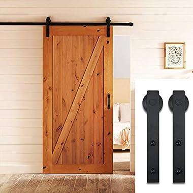 PENSON & CO. PBD001 FBA_SDHA023BK Sliding Barn Door Hardware Set Black 6.6 FT - Antique Style