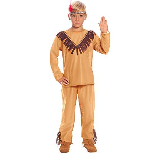 NET TOYS Autentico Disfraz de Nativo Americano para Chico - Marrn 3 - 4 aos, 95 - 100 cm - Llamativa Vestimenta Infantil Cacique indgena - Insuperable para Festival y Carnaval