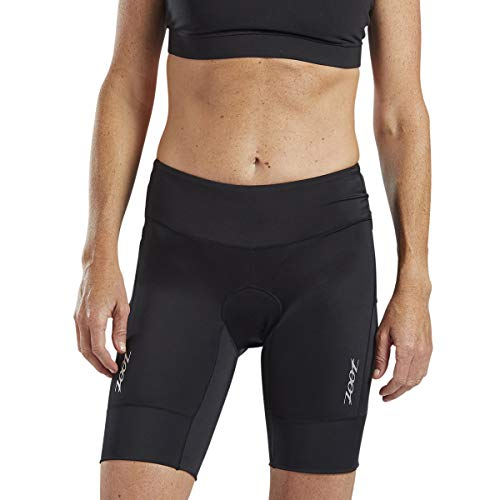 Zoot Core Women's 8-Inch Tri Shorts - Performance Triathlon Shorts with Endura Fabric and Hip Holster Pockets (Black, Large)
