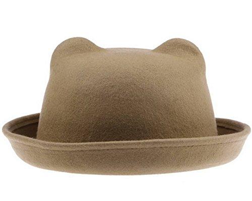 COMVIP COMVIP Damen Mädchen Bowler Hut Vintage Melonen Mütze Bucket Hat Katze Ohren Braun
