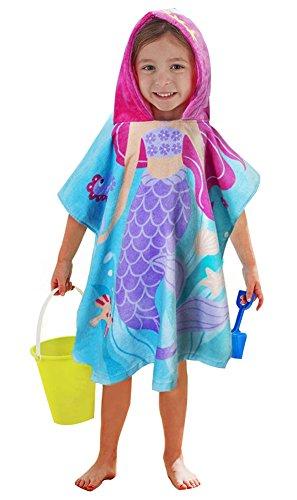 LALIFIT Little Mermaid 100% Cotton Hooded Towel for 2-6 Years Girls Boys Bath Beach Pool Towel,24 x 48 inches (Mermaid)