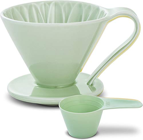 Pour Over Coffee Dripper by Sanyo Sangyo: Porcelain Ceramic 1-to-4 Cup Brewer in 5 Beautiful Colors | Unique Drip Coffee Maker for Fresh Filter Coffee–Elegant Smart Design: Better Brewing (Green)