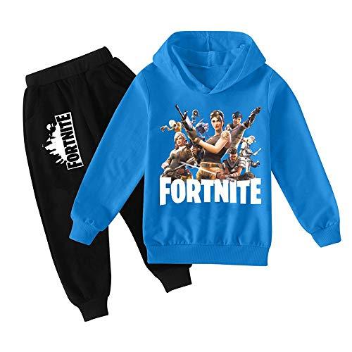 zhaojiexiaodian Jungen Unisex Pullover 3D-gedruckte Kinder Jogging Hoodie Sweatshirt Sportswear Sportswear Pullover Hip-Hop Streetwear Hoodie (Blau, 160)