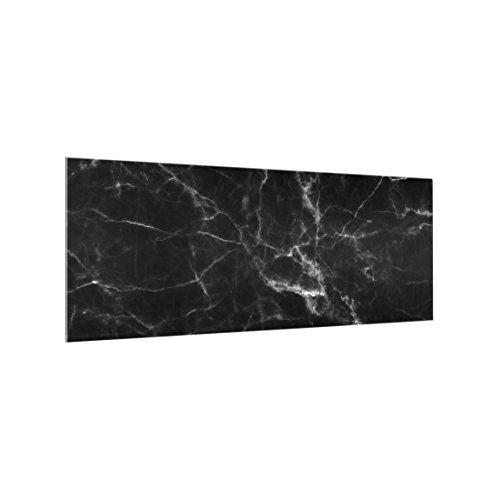 Bilderwelten Spritzschutzglas Marmoroptik 50 x 125 cm schwarz Küchenrückwand