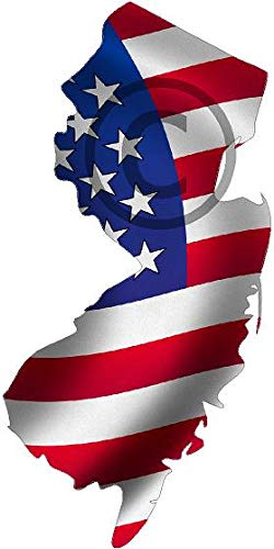 Project Thin Line New Jersey NJ Shape Us United States Waving Wavy American Flag Sticker 4' x 6'