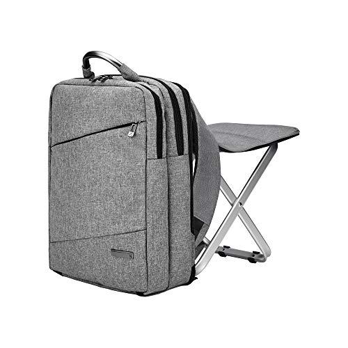 Rucksack Stuhl Angelrucksack - Multifunktionsrucksack Rucksack mit großer Kapazität und tragbarer Klappkühlstuhl - ideal für Camping Angeln Wandern Picknick (Grey-16)