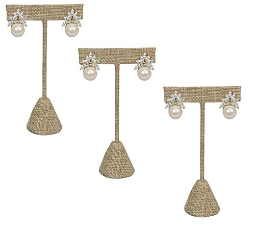 888 Display USA - 3 Burlap Fabric Earring T Stand Showcase Displays (6.75' (3 Pack), Burlap)