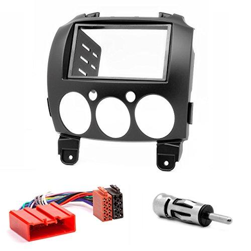 CARAV 11-079-15-6 - Mascherina autoradio 2 DIN per Mazda (2), Demio 2007-2014 + ISO e adattatore antenna