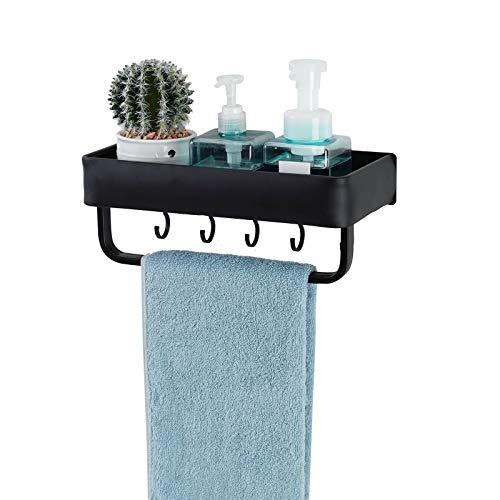 Duschregal Ohne Bohren, Duschkorb Organizer Selbstklebend, Wandhängend Space Aluminum Für Badezimmer Küche, mit Antihaftkleber, Schwarz