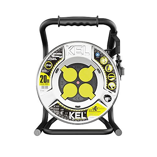KEL -ELECTRIC - Tambor de cable de metal con 20 m de cable de goma 3 x 1,5 mm², 230 V/16 A, cable de extensión - Tambor con 4 enchufes de protección IP44