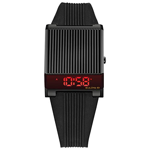 Bulova Archive Series LED Display Mens Stainless Steel with Black Silicone Strap Computron , Black (Model: 98C135)