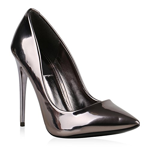 Spitze Damen Pumps High Heels Stilettos Lack Party Schuhe 124000 Grau 36 Flandell