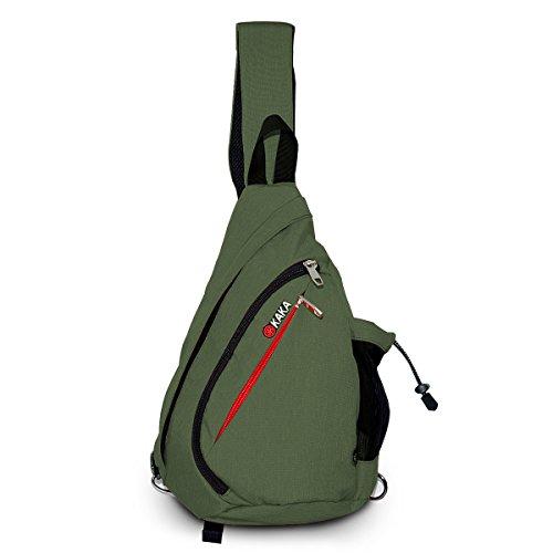 LC Prime Sling Bag Chest Pack Shoulder Unbalance Sack Fanny Gym Backpack Satchel Outdoor Rucksack Adjustable Shoulder Strap Exchange Shoulder for Travel Cycling Hiking Nylon Green