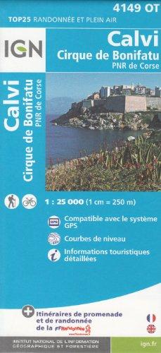 IGN 4149 OT Calvi, Cirque de Bonifatu (Córcega, Francia) 1:25.000 topográfico mapa de senderismo IGN