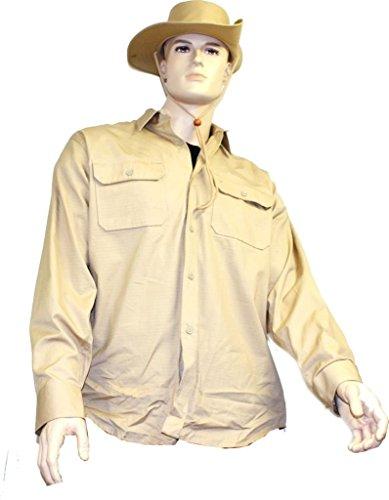 Tropenhemd langarm khaki, Größe:3-XL