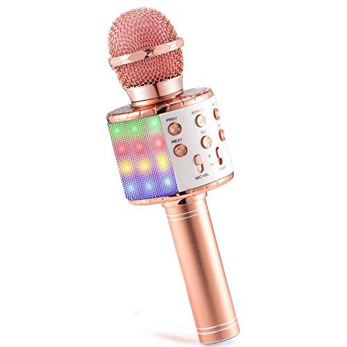 Karaoke Mikrofon, MOPOIN 4-in-1 Multifunktional Bluetooth Karaoke Mikrofon Tragbares Drahtloses Mikrofon, Handmikrofon mit Lautsprecher Aufnahme, Kompatibel mit iPhone/Android/iPad und PC (Roségold)