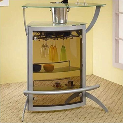 Stonecroft Union Contemporary Metal Glass Top Home Bar Unit in Silver