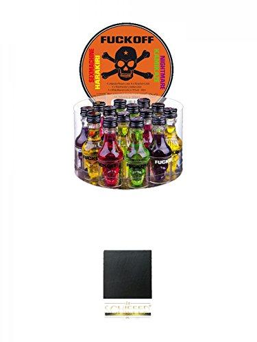Fuckoff Mix Set jew. 4 x 0,02L Harakiri Amarula mit Peach, Kamikaze Waldmeister mit Limette, Nightmare schwarze Beere, Sexmachine rote Kirsche + Schiefer Glasuntersetzer eckig ca. 9,5 cm Durchmesser