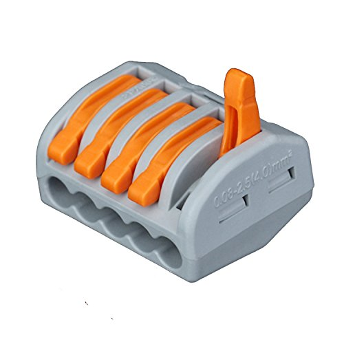Push Wire Connector Lever Terminal Block Lever-Nuts 5 Conductor Compact Connectors, 50 Pack