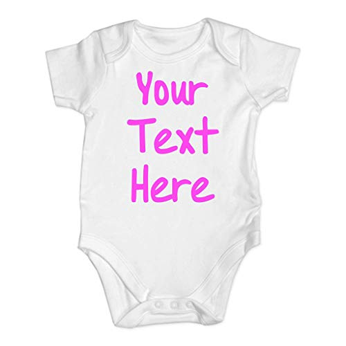 BUKINIE Newborn Baby Boy Girls Letter Infant Rompers Short Sleeve Jumpsuit Clothes(Rose,6-12 Mois
