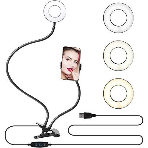 YNLRY Selfie Anillo Soporte de teléfono Soporte Video cámara lámpara Maquillaje Ajustable Brazo Redondo Montaje de Montaje led fotografía fotografía Youtube TIK Tok (Color : NO Bluetooth Black)