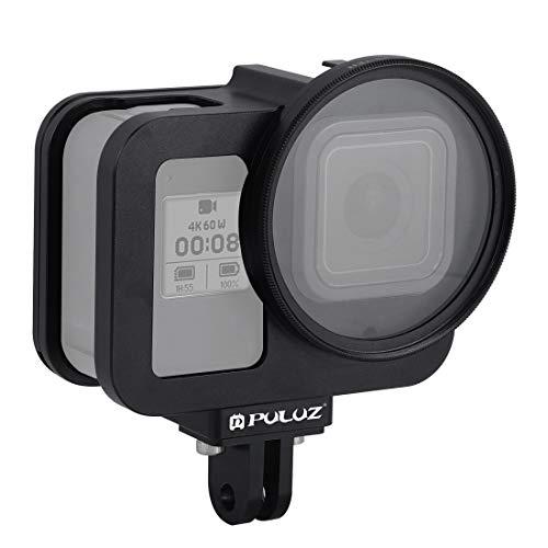 WWTTE QIX for GoPro HERO8 Schwarz Gehuseschale CNC-Aluminiumlegierung Schutzkäfig Mit Versicherung Rahmen Und 52mm UV Lens (Schwarz) DZ (Color : Black)