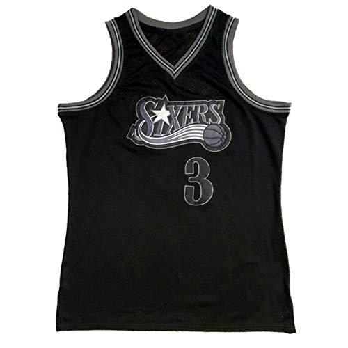 CLKI #3 76ers Iverson - Camiseta de baloncesto para hombre, edición de aficionados, diseño retro, transpirable, color negro y XL