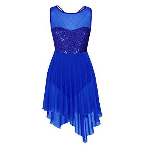 iiniim Damen Ballettkleid Ballettanzug Gymnastik Turnanzug mit Asymmetrisch Rock Pailletten Ballett Trikot Latein Tanzkleid XS-XL Blau XS