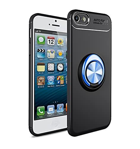 Bolso de un teléfono portátil Estuche protector para iPhone 5 / 5S / SE Caso Soft TPU Funda a prueba de golpes 360 grados Rotación Metal Anillo Magnético Kickstand DISIPACIÓN DE CALOR DISTRIBA DE PROT