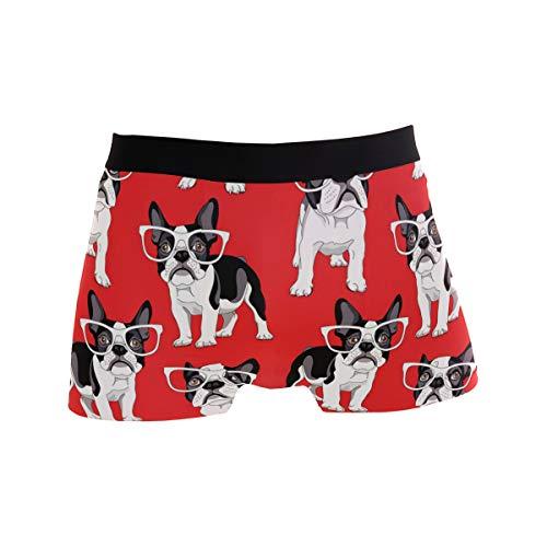 Boxer Briefs Men's Underwear, Cartoon French Bulldog in Glasses Trunks for Men